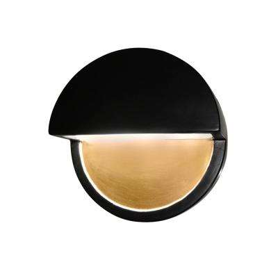 Ambiance Dome 12-Watt Carbon Matte Black Integrated LED Sconce with Champagne Gold Internal
