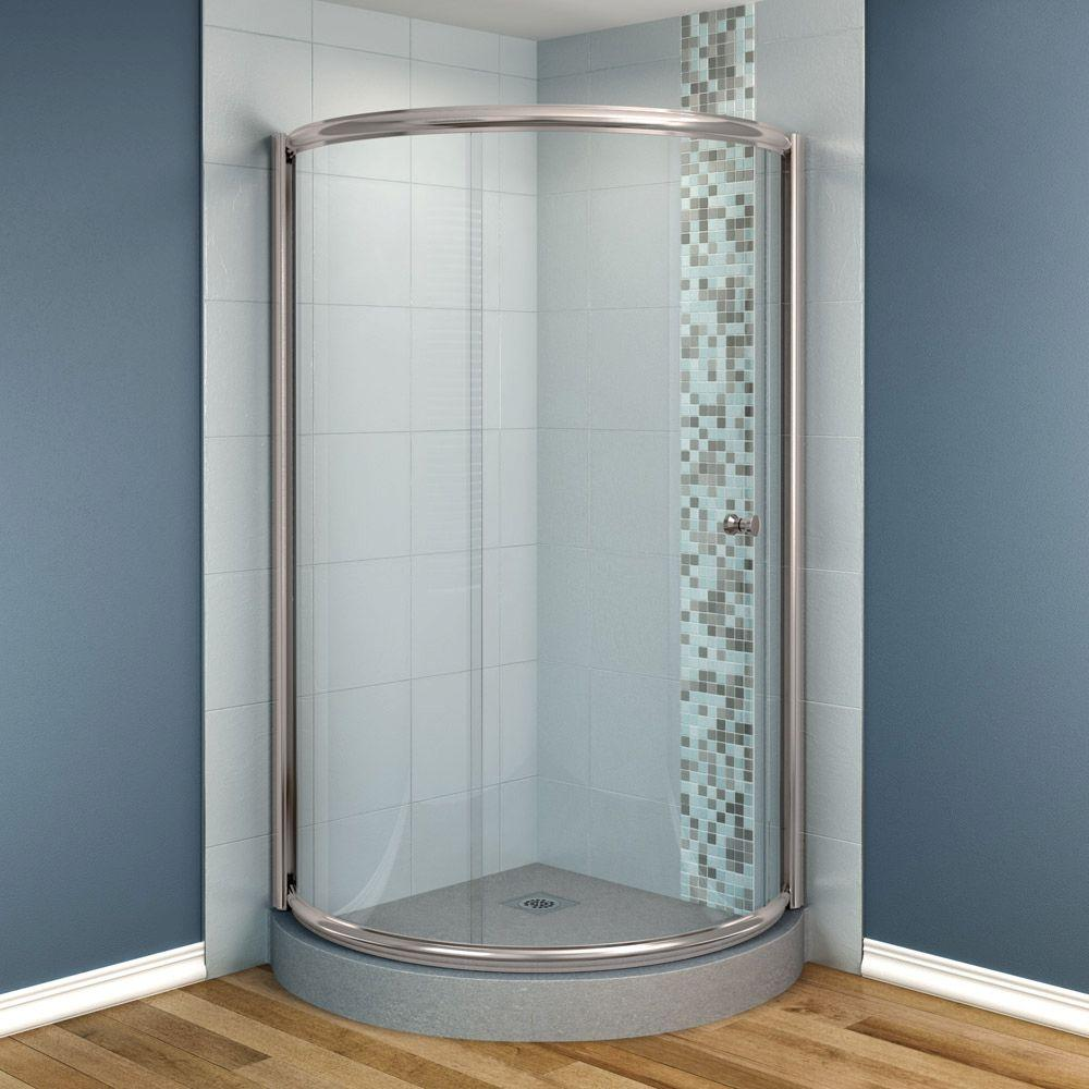 MAAX Tully 36 in. x 36 in. x 70 in. Frameless Corner Lateral Shower Door in Clear Glass and Nickel Finish-DISCONTINUED