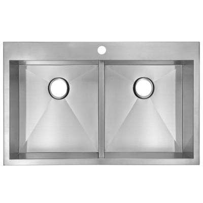 Drop-In Stainless Steel 33 in. 1 Hole Double Bowl Kitchen Sink in Satin