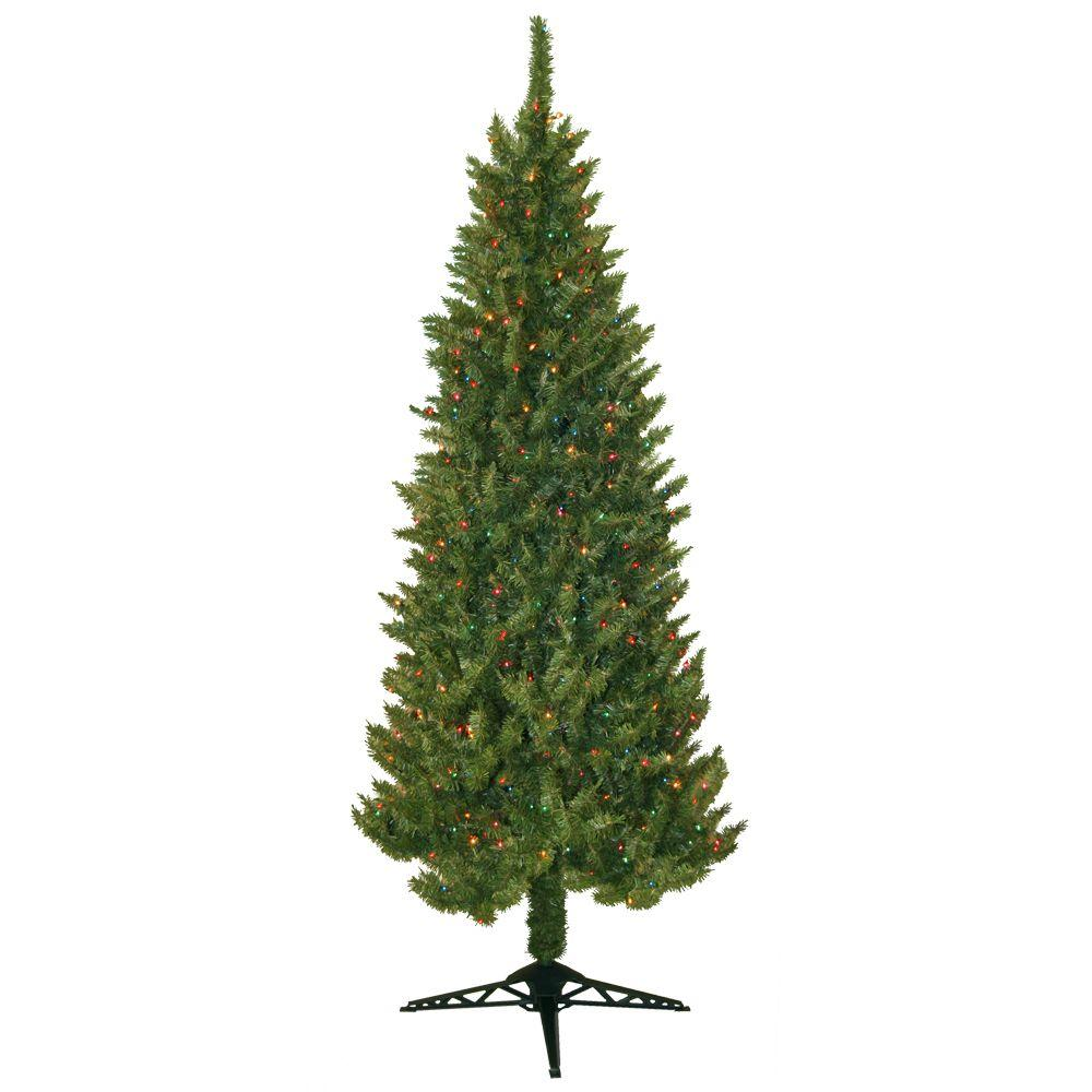 General Foam 7 ft. Pre Lit Slender Spruce Artificial Christmas ...