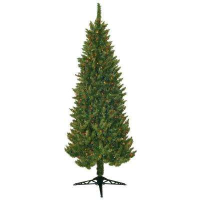 7 ft. Pre Lit Slender Spruce Artificial Christmas Tree with Multi-Colored Lights