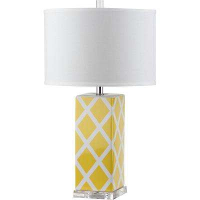 Garden 27 in.  Yellow Lattice Table Lamp (Set of 2)