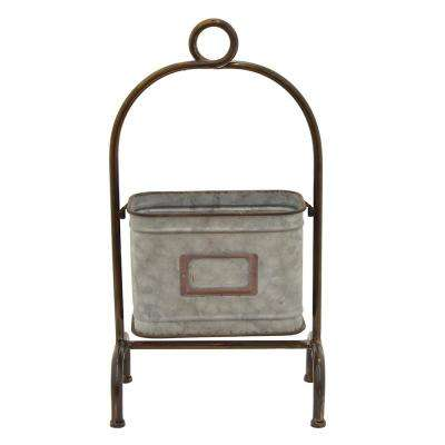 12 in. x 7.25 in. Decorative Metal Storage Rack in Gray