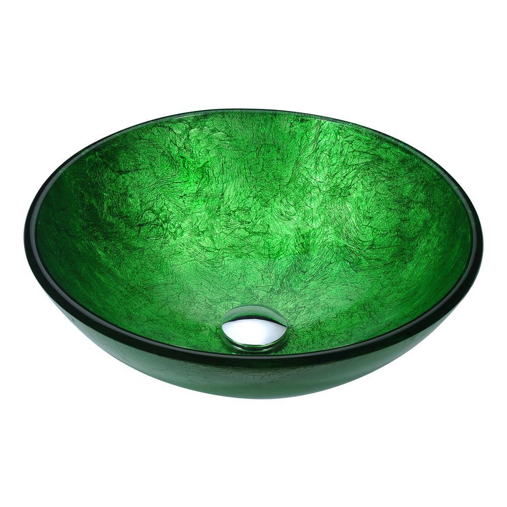 Anzzi Posh Series Deco Glass Vessel Sink In Celestial Green Ls Az294