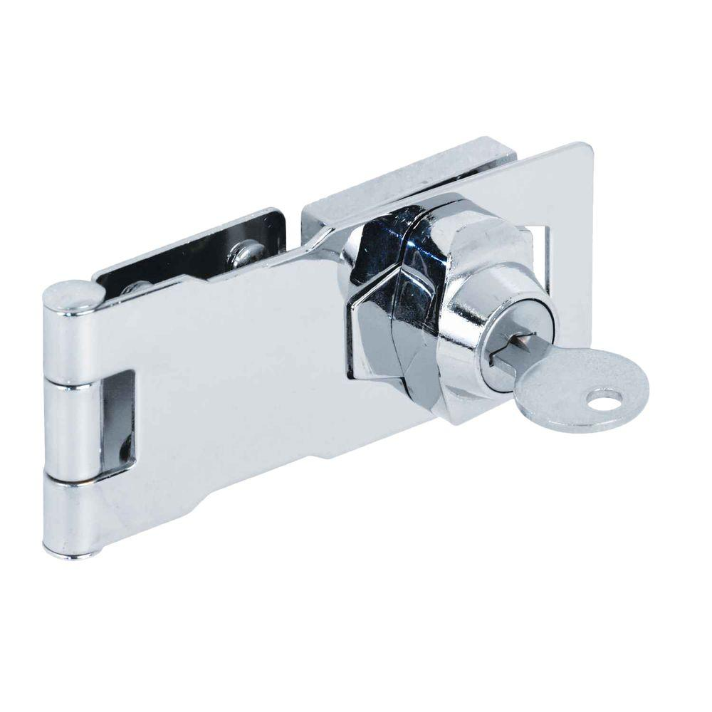 Prime Line 4 In Chrome Keyed Hasp U 9951 The Home Depot
