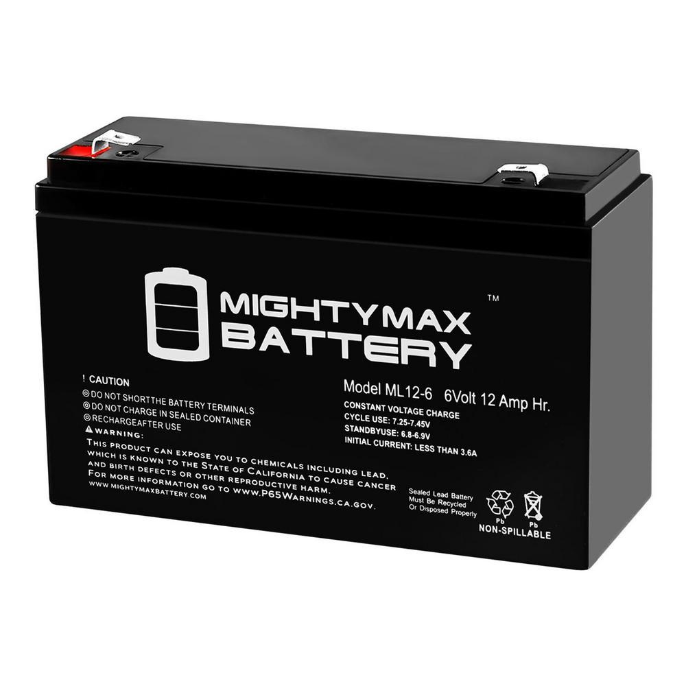 6-Volt 12 Ah Sealed Lead Acid (SLA) Battery Includes 6-Volt Charger