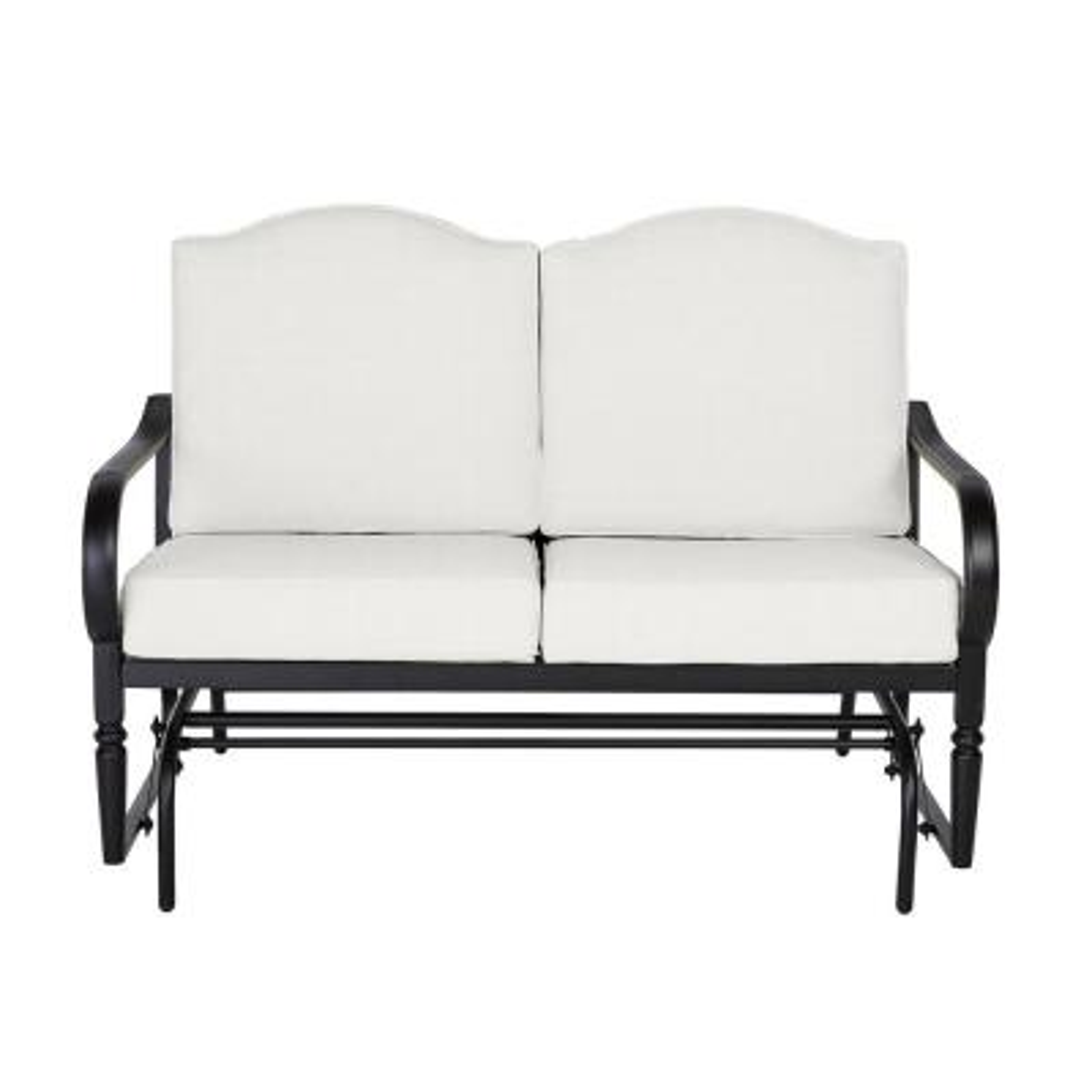 Laurel Oaks Dark Brown Steel Outdoor Patio Glider with CushionGuard Chalk White Cushions
