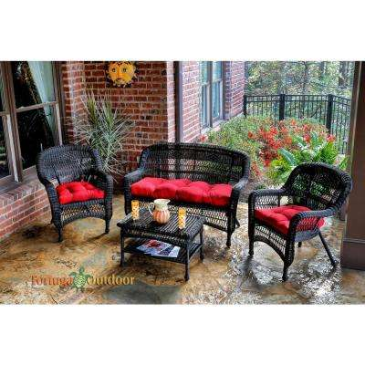 Portside Dark Roast 4-Piece Wicker Patio Seating Set with Lipstick Red Cushions