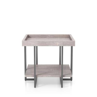 Triblisi 23.25 in. H Gray and Gun Metal End Table