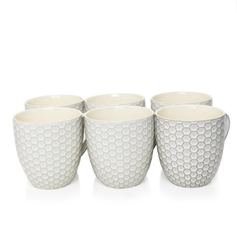Honeycomb 15 oz. White Mugs (Set of 6)