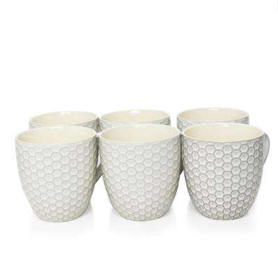 Honeycomb 15 oz. White Mugs (Set of 6)