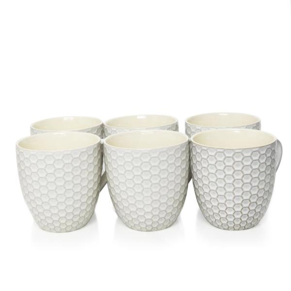 Elama Honeycomb 15 oz. White Mugs (Set of 6) 985110012M