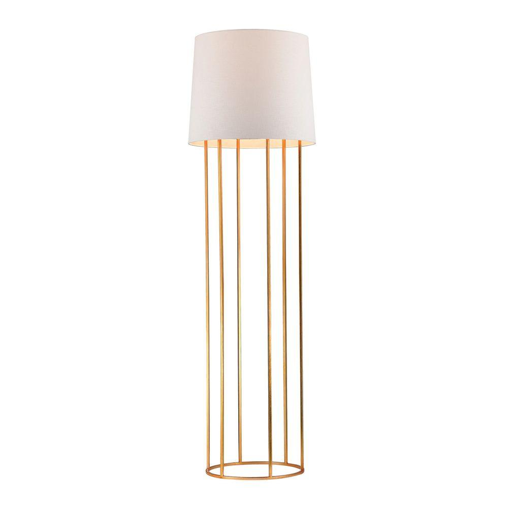Barrel 63 in. Gold Leaf Frame Floor Lamp