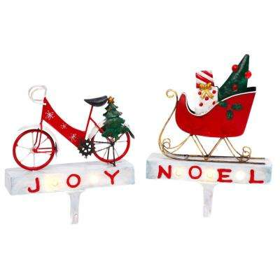S/2 Lighted Metal Bicycle and Sled Stocking Holders