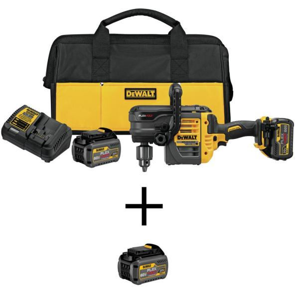 FLEXVOLT 60-Volt MAX Lithium-Ion Cordless Brushless 1/2 in. Stud and Joist Drill with Batteries and Bonus Battery 2Ah