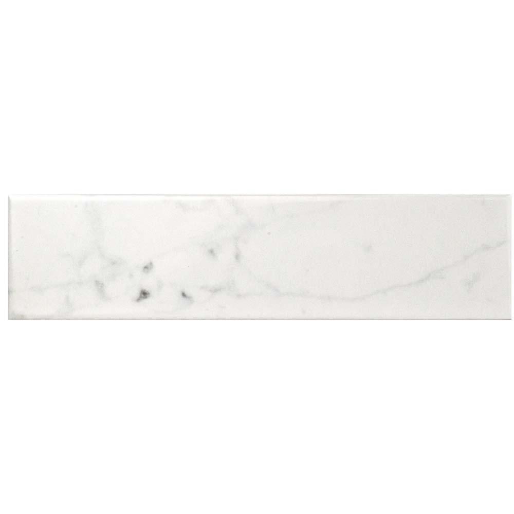Classico Carrara Glossy 3 in. x 12 in. Ceramic Wall Tile