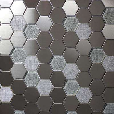 Enchanted Metals Silver Hexagon Mosaic 2 in. x 2 in. Glass and Metal Mesh Mounted Wall and Floor Tile (1 Sq. ft.)