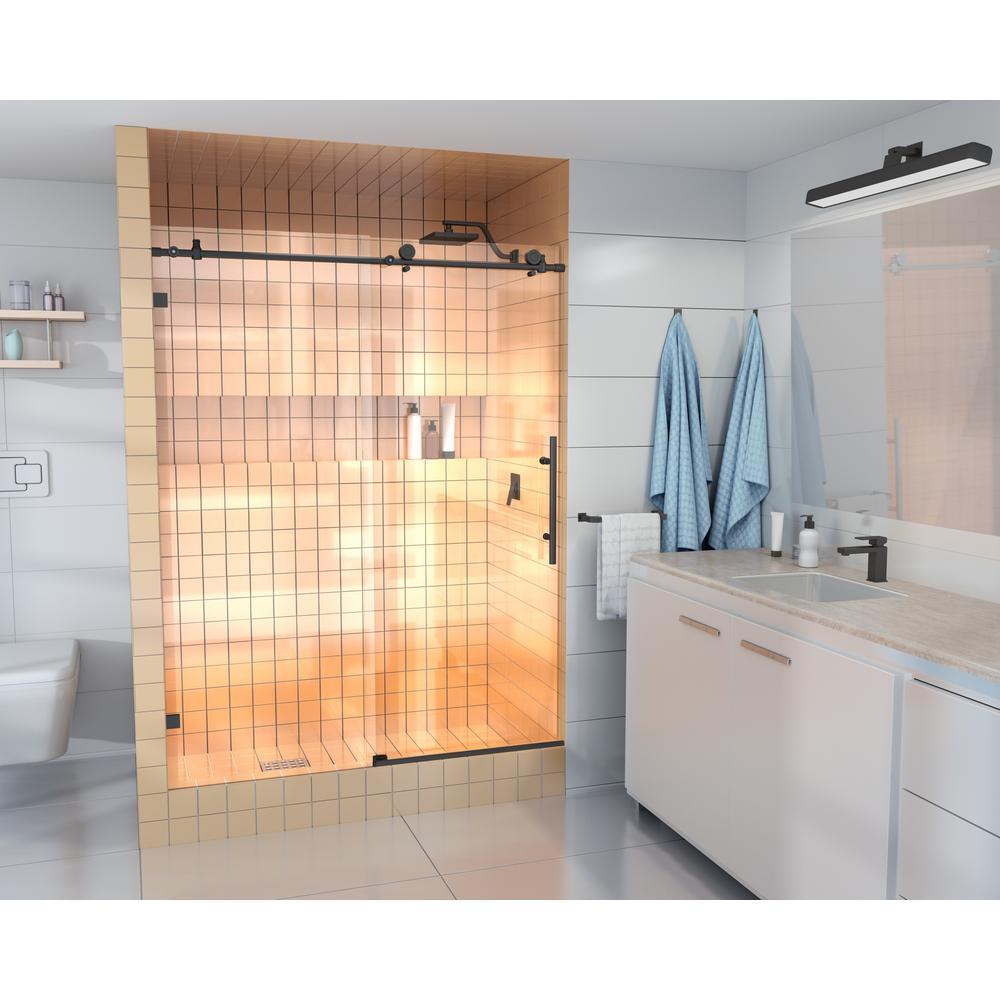 60 in. - 64 in. x 78 in. Frameless Sliding Shower Door in Matte Black with Handle