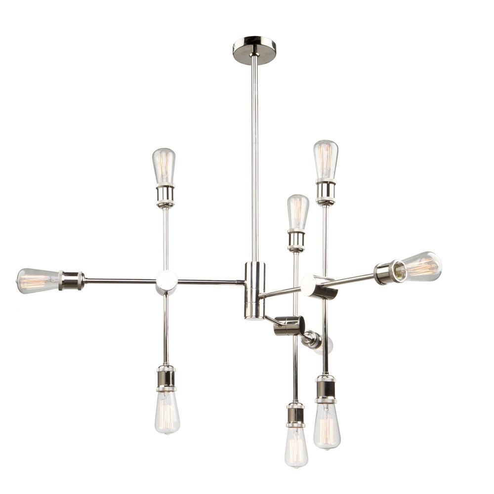 9-Light Polished Nickel Chandelier