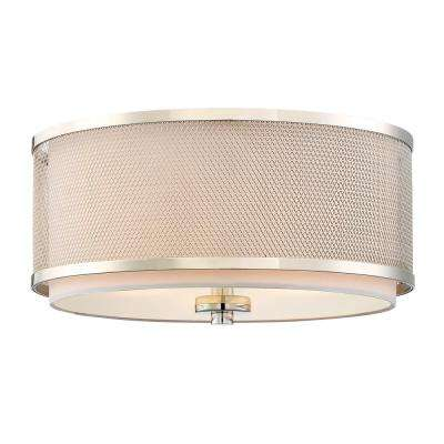 3-Light Polished Nickel Flushmount