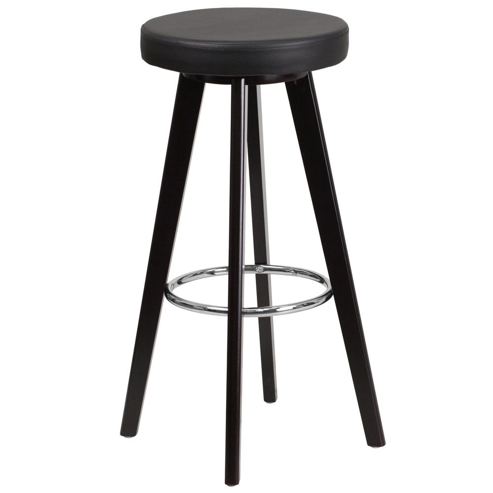 30 in. Black and Cappuccino Cushioned Bar Stool