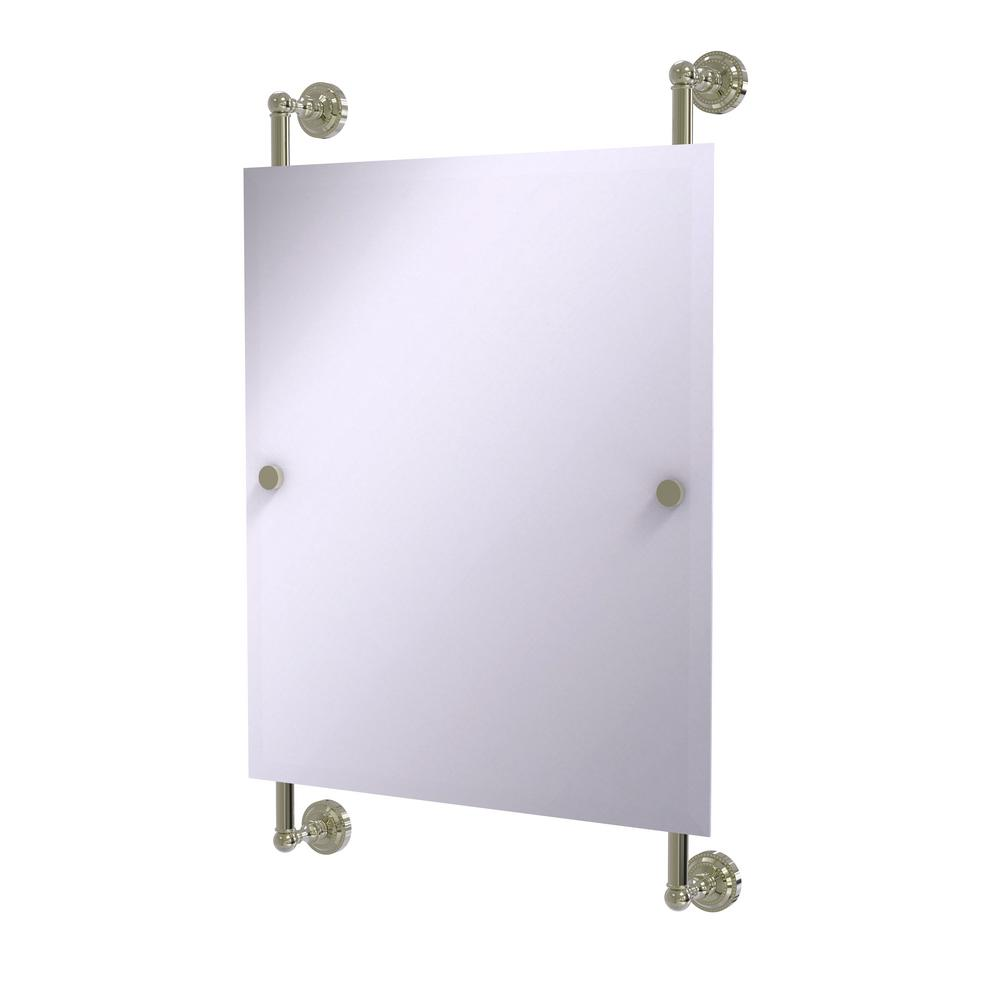 Dottingham Collection Rectangular Frameless Rail Mounted Mirror in Polished Nickel