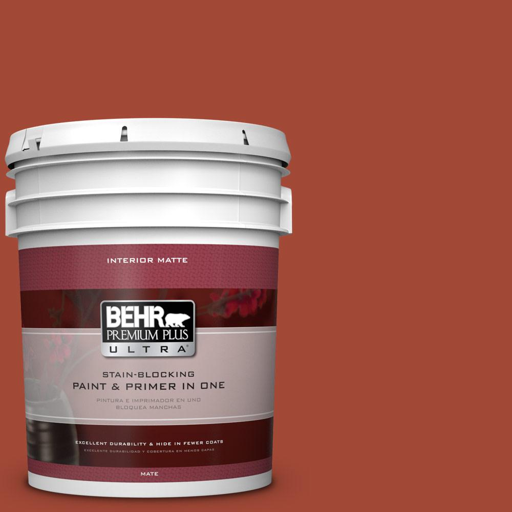 5 gal. #200D-7 Rodeo Red Matte Interior Paint and Primer in