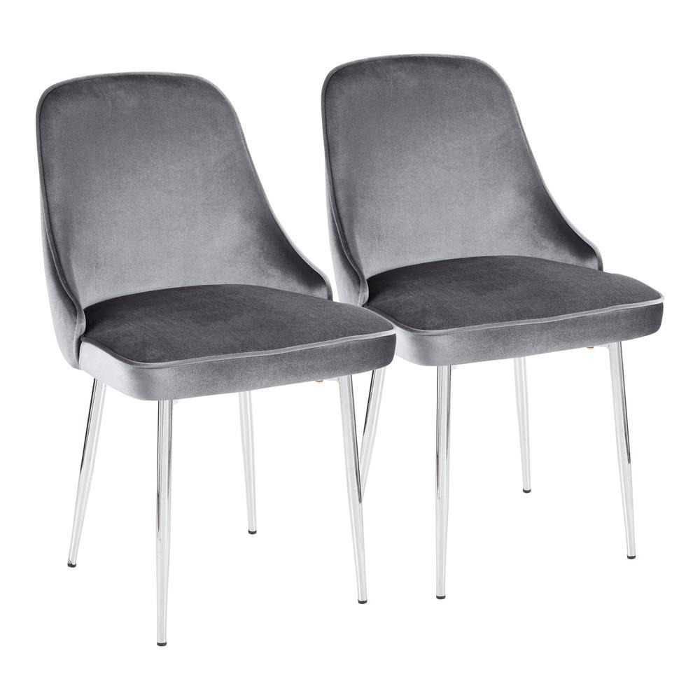 Chrome and Blue Marcel Velvet Dining Chair (Set of 2)