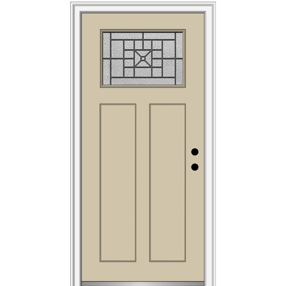 MMI Door 36 in. x 80 in. Courtyard Left-Hand 1-Lite Decorative Craftsman Painted Fiberglass Prehung Front Door, 4-9/16 in. Frame, Wicker/Brilliant was $1444.56 now $939.0 (35.0% off)