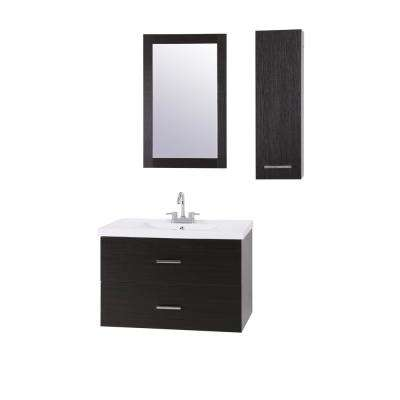 Yasmine 32 in. W x 18 in. D Floating Vanity in Espresso with Cultured Marble Vanity Top in White with Mirror