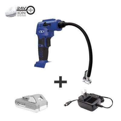 24-Volt Cordless Portable Inflator and Nozzle Adapters Kit with 2.0 Ah Battery + Charger, Blue