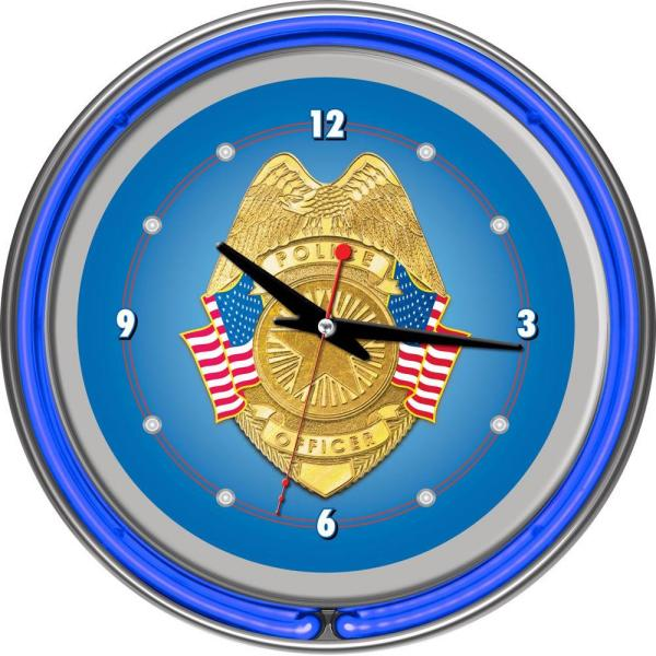Trademark Global 14 in. Police Officer Chrome Double Ring Neon Wall