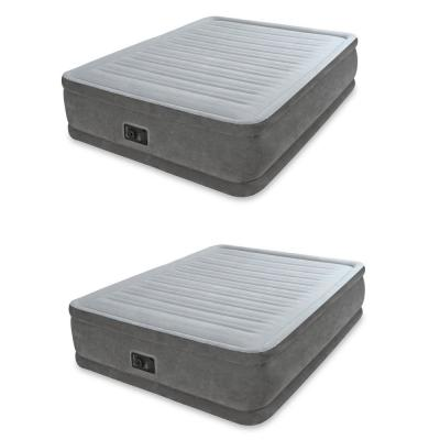 Queen Comfort Plush Elevated Mattress Airbed with Built-In Pump (2-Pack)