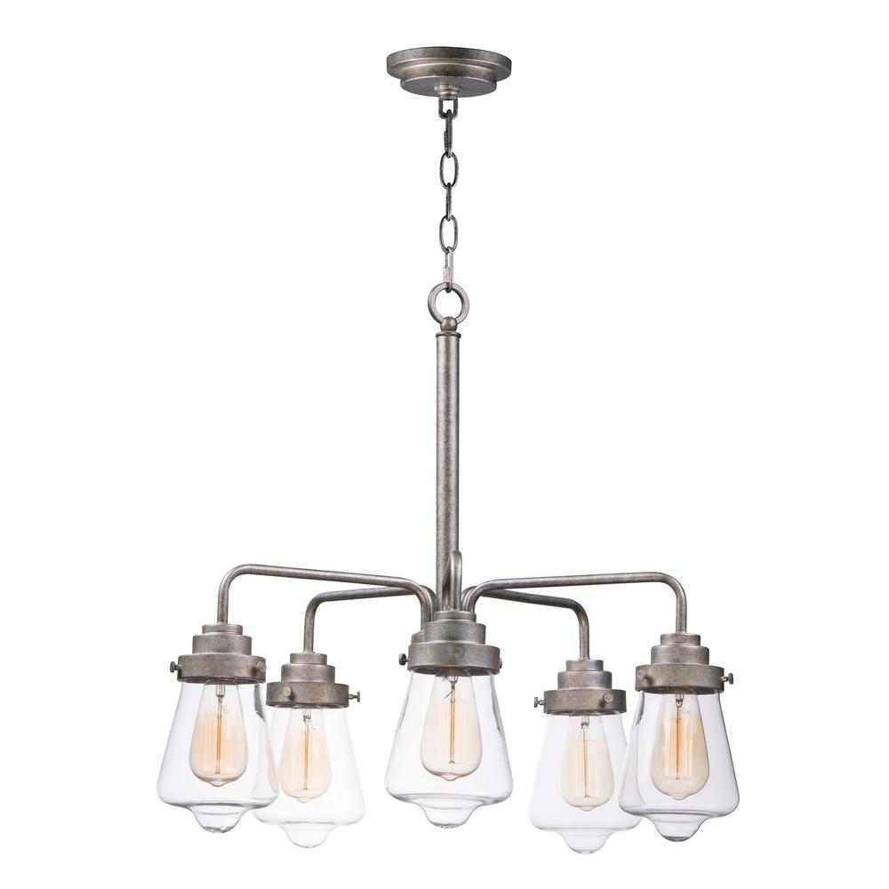 Maxim Lighting Cape Cod 26 In W 5 Light Weathered Zinc Chandelier With Clear Shade
