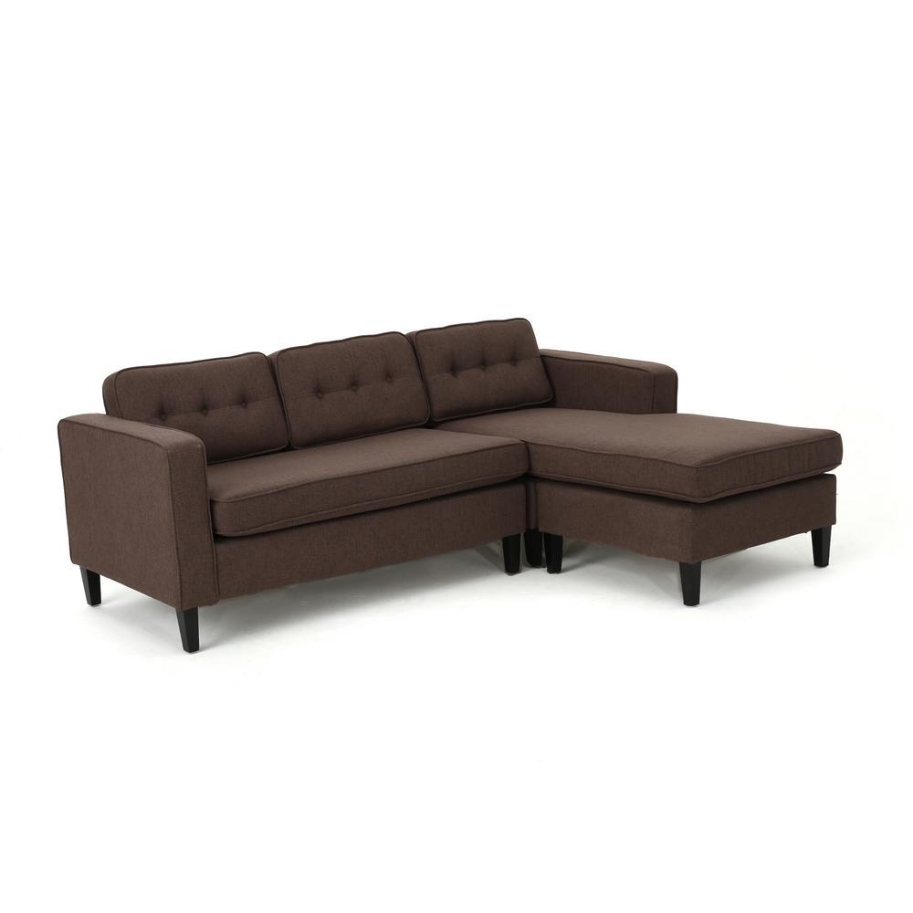 Wilder Mid-Century Modern 2-Piece Dark Brown Fabric Chaise Sectional