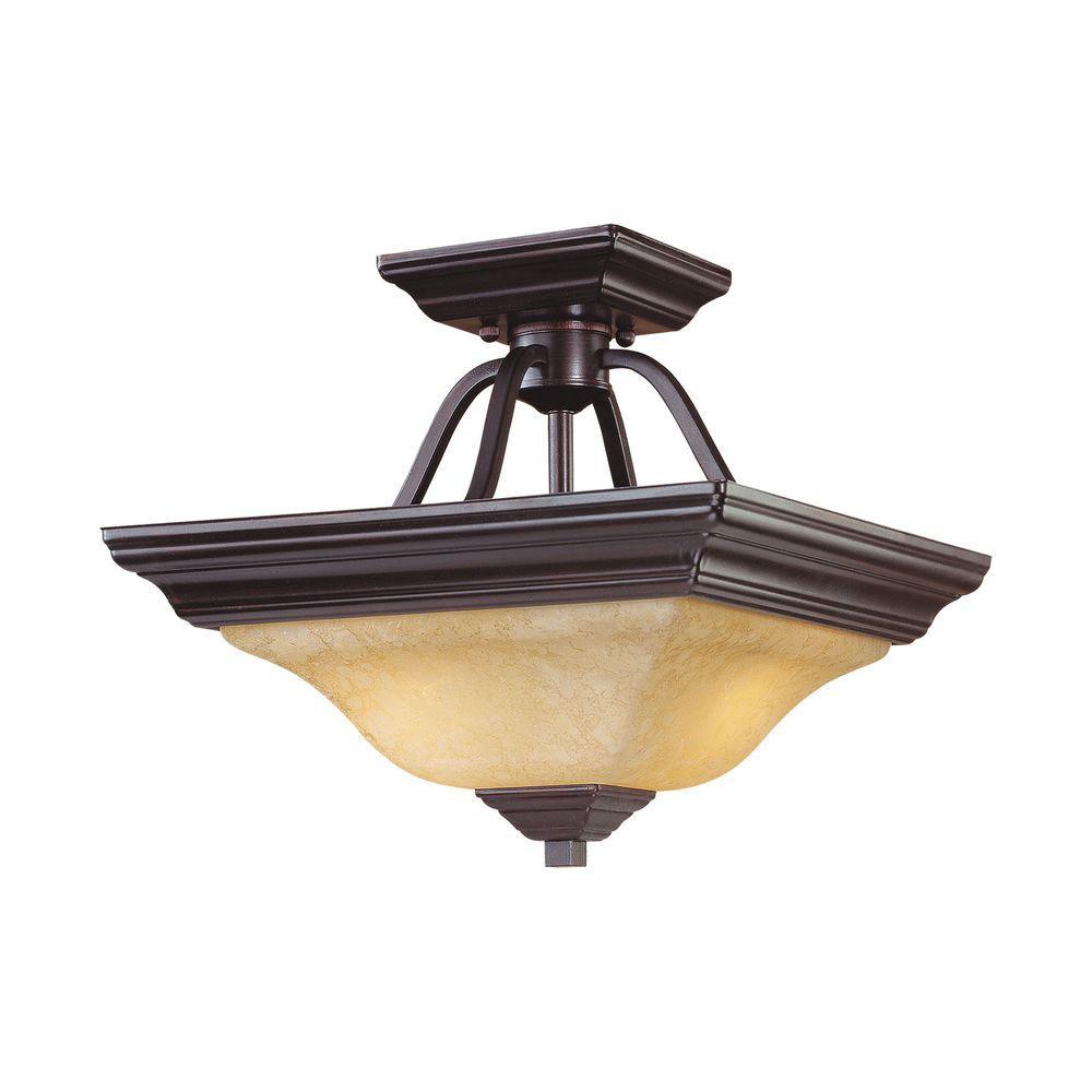 2-Light Euro Bronze Semi-Flush Mount Light with Turonian Scavo Glass