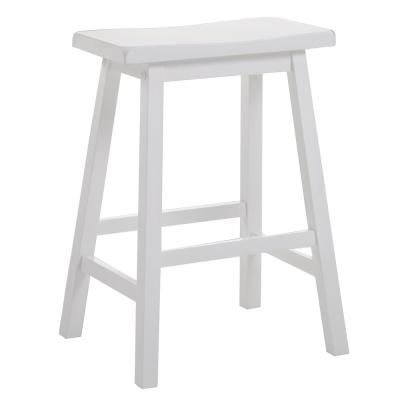 24 in. Amelia White Wood Counter Height Stool