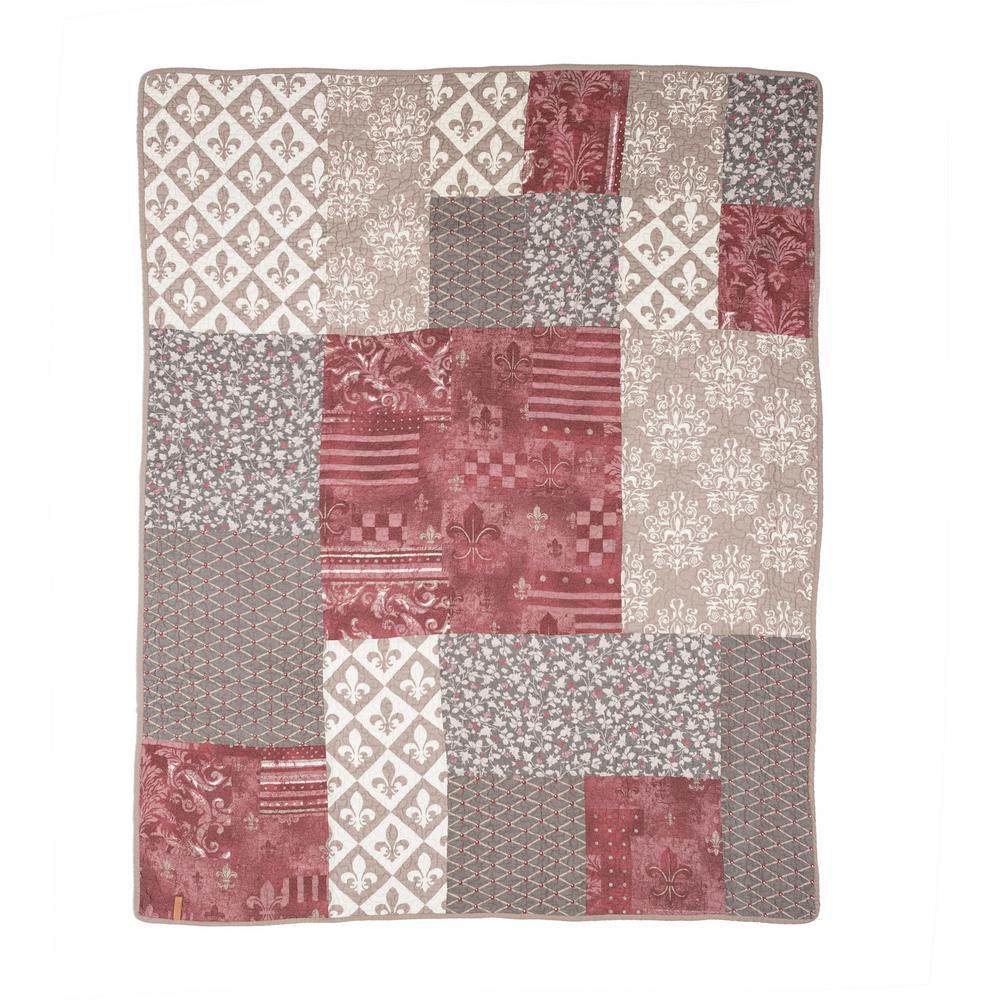 Fleur De Lis Geometric Square King Quilt (3-Piece Set)