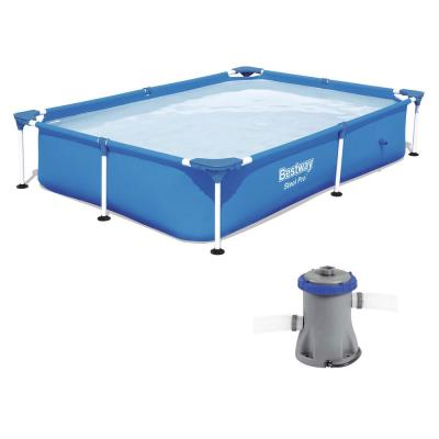 59 in. x 87 in. Rectangular Hard Sided Pool Above Ground Pool and Flowclear Filter Pump
