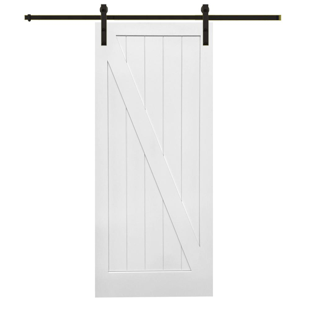 36 in. x 84 in. Primed Z-Plank MDF Barn Door with