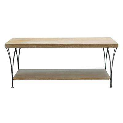 Thetford 45 in. W Weathered Natural Coffee Table with Shelf