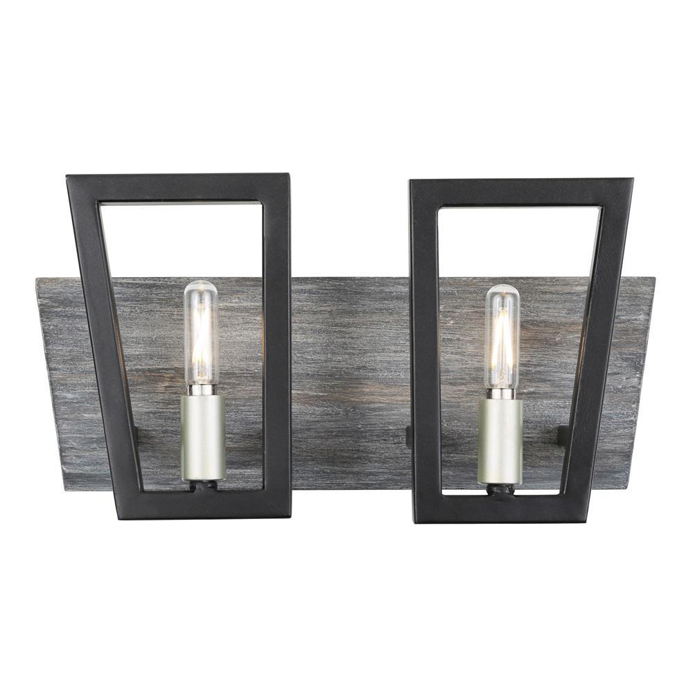 Zag 2-Light Black and Silverado Bath Light