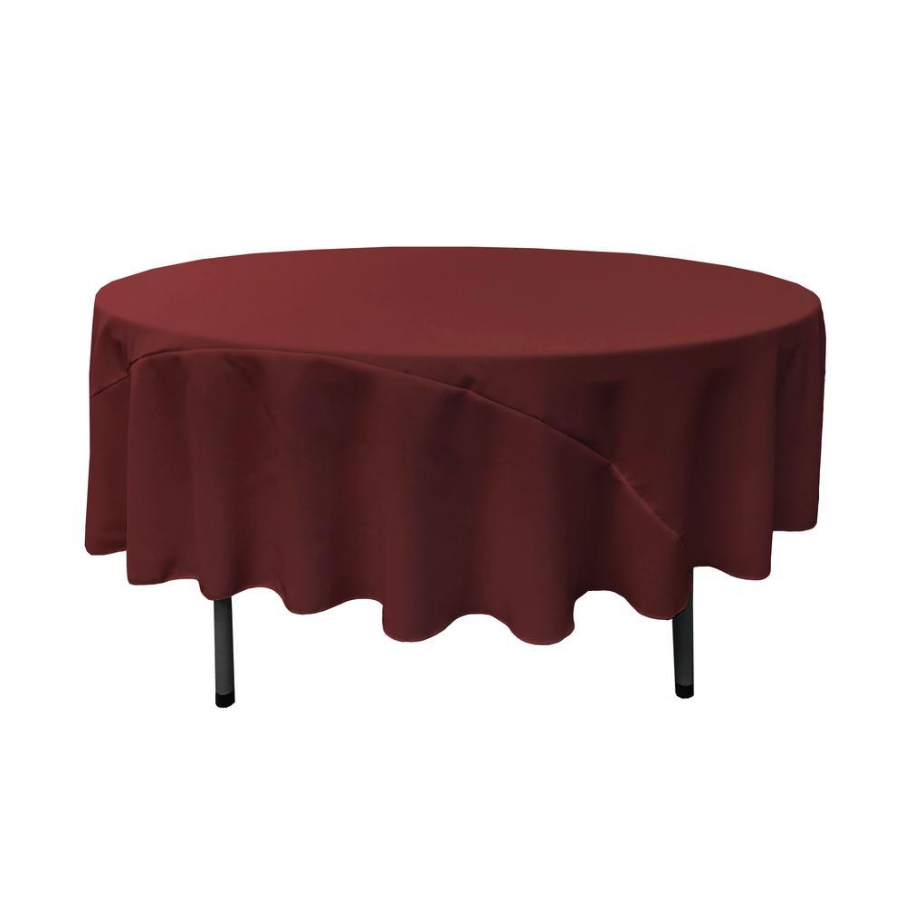 LA Linen 90 In. Round Burgundy Polyester Poplin Tablecloth