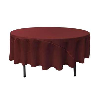 90 in. Round Burgundy Polyester Poplin Tablecloth