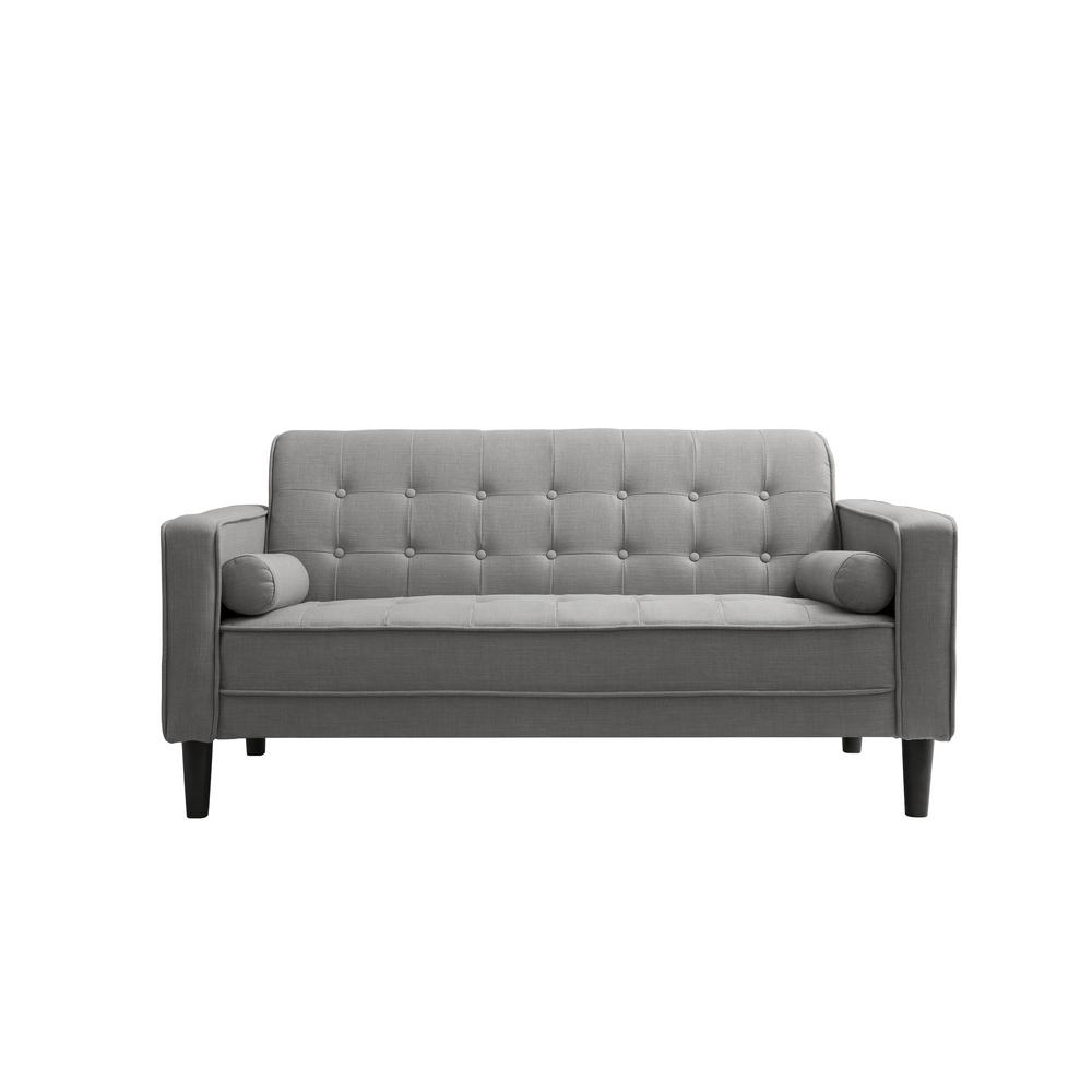 Nolan 58 In Gray Linen 2 Seater Loveseat With Square Arms 72017 62gy The Home Depot