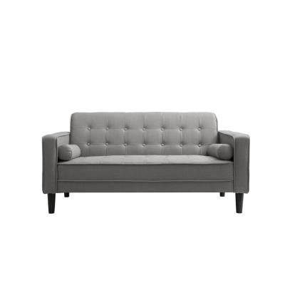 Nolan 58 in. Gray Linen 2-Seater Loveseat with Square Arms