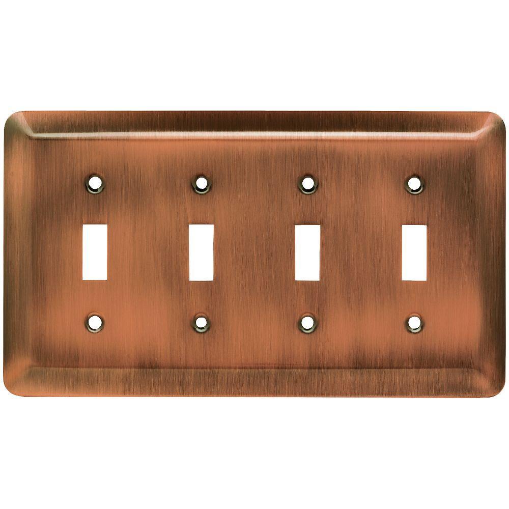 Stamped Round Decorative Quadruple Switch Plate, Antique Copper