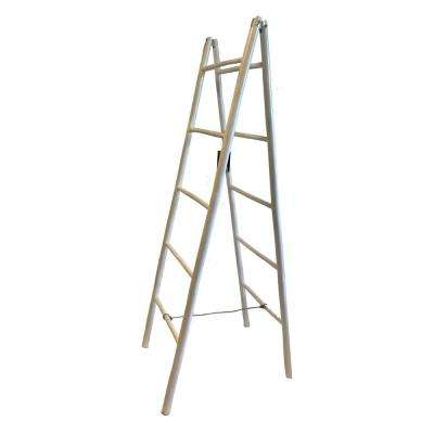 5 ft. H 5-Shelf Stained Folding Double Bamboo Ladder Towel Rack in White