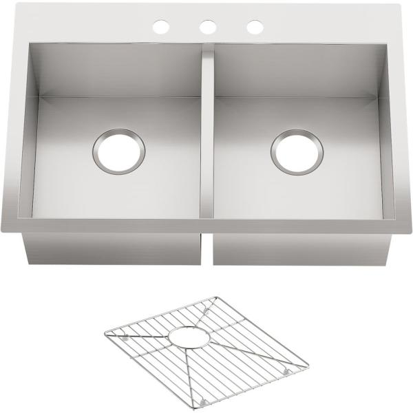 Vault Dual Mount Stainless Steel 33 in. 3-Hole Double Bowl Kitchen Sink