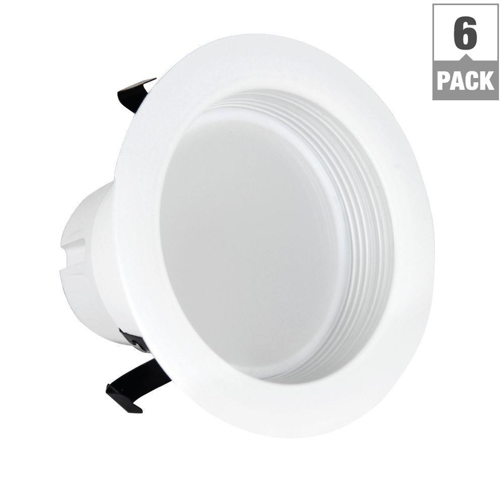 50W Equivalent Soft White 4 in. White Baffle-Trim Recessed Retrofit Downlight LED 90 CRI Maintenance Pack (6-Pack)